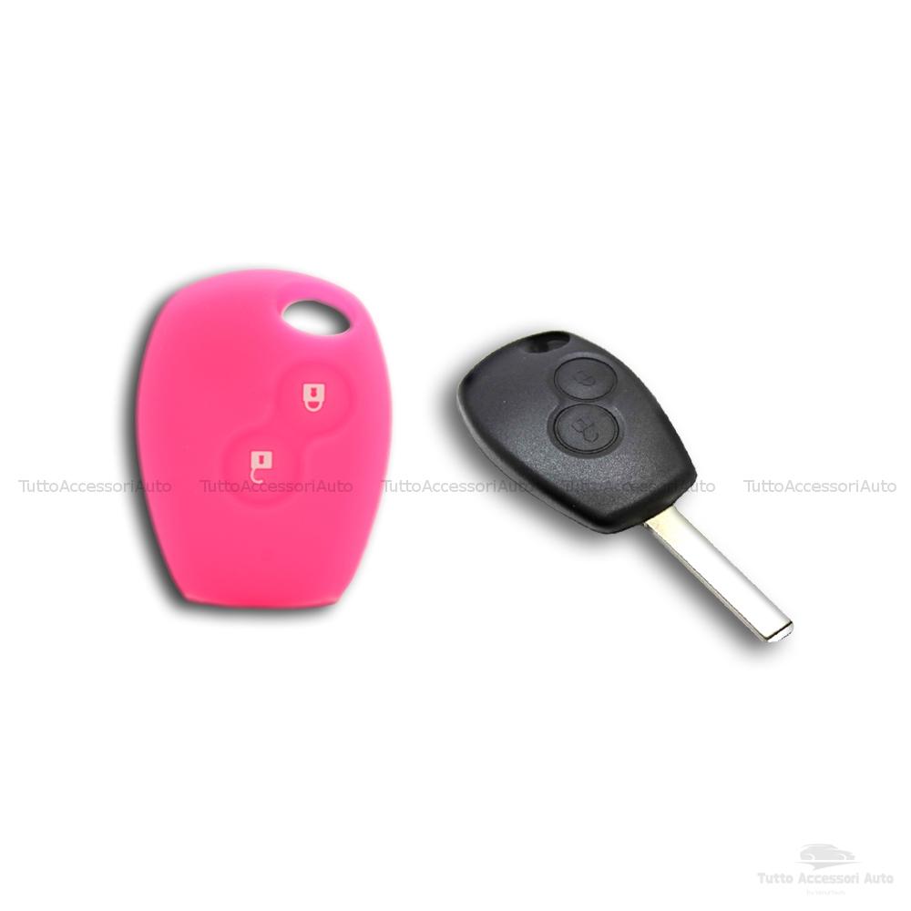 Cover Guscio Colorato Case Materiale Silicone Morbido Per Scocca Chiave Telecomando 2 Tasti Autovetture Renault Clio Twingo Modus Kangoo Vari Colori (Fucsia)