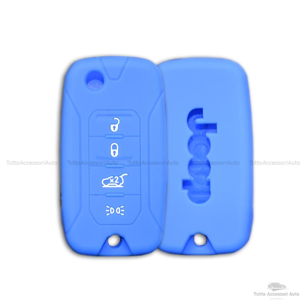 Cover Colorata Protezione In Silicone Morbido Per Scocca Guscio Chiave 3 Tasti Pieghevole Auto Jeep Renegade Cherokee Copertura Del Telecomando Disponibile In Vari Colori (Blu)