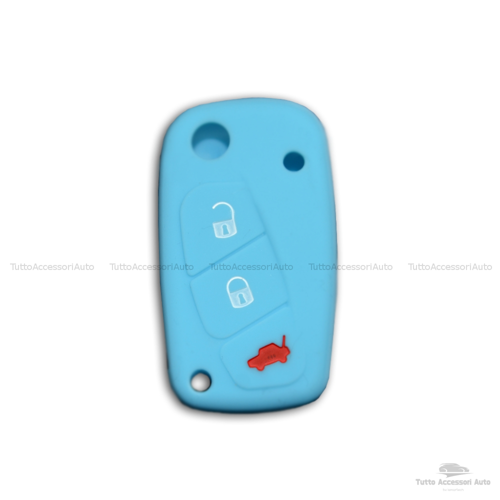 Cover Colorata Protezione In Silicone Morbido Per Scocca Guscio Chiave 3 Tasti Pieghevole Auto Fiat Grande Punto, Panda, Stilo, Bravo, Ducato, Ulysse (Azzurro)