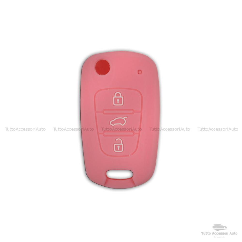 Guscio Cover In Silicone Colore Per Protezione Scocca Telecomando Chiave 3 Tre Tasti Auto Hyundai I10 I20 I30 Ix20 Ix35 Elantra Vari Colori (Rosa)