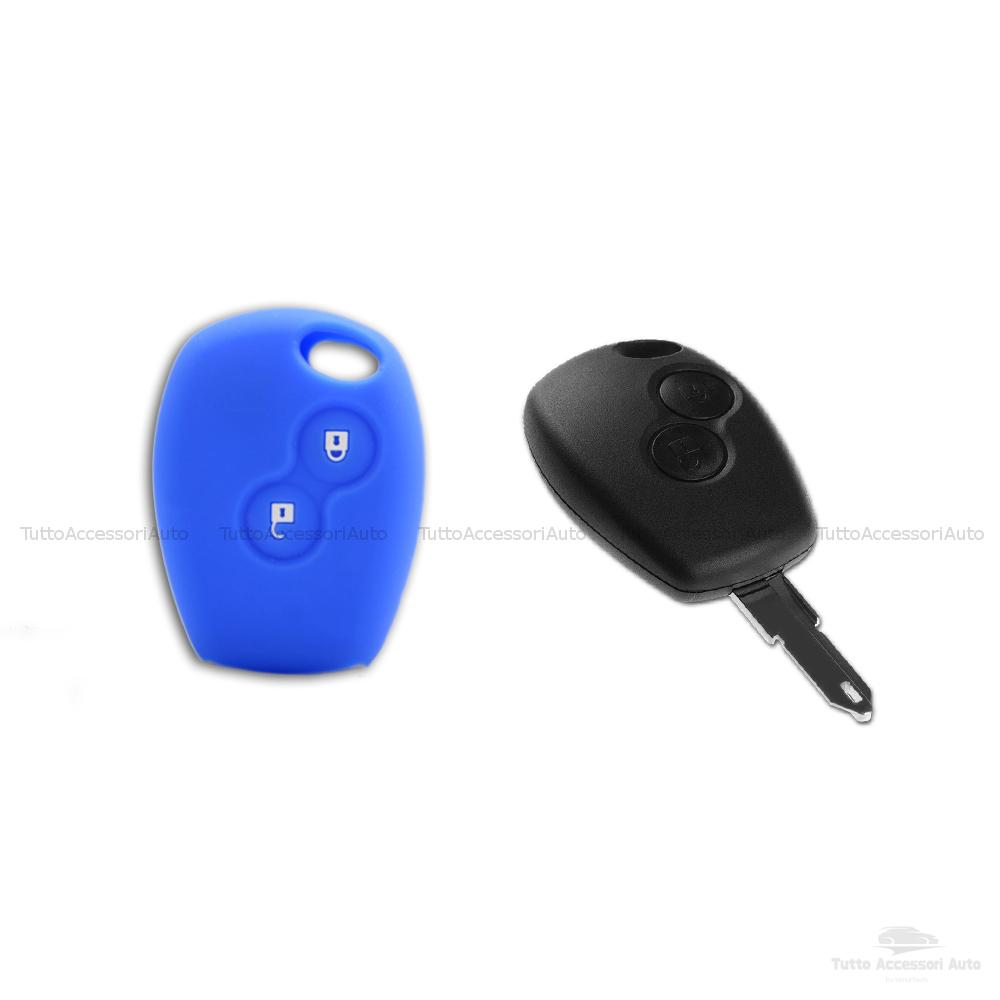 Cover Guscio Colorato Case Materiale Silicone Morbido Per Scocca Chiave Telecomando 2 Tasti Auto Dacia Logan Sandero Duster Express Vari Colori (Blu)