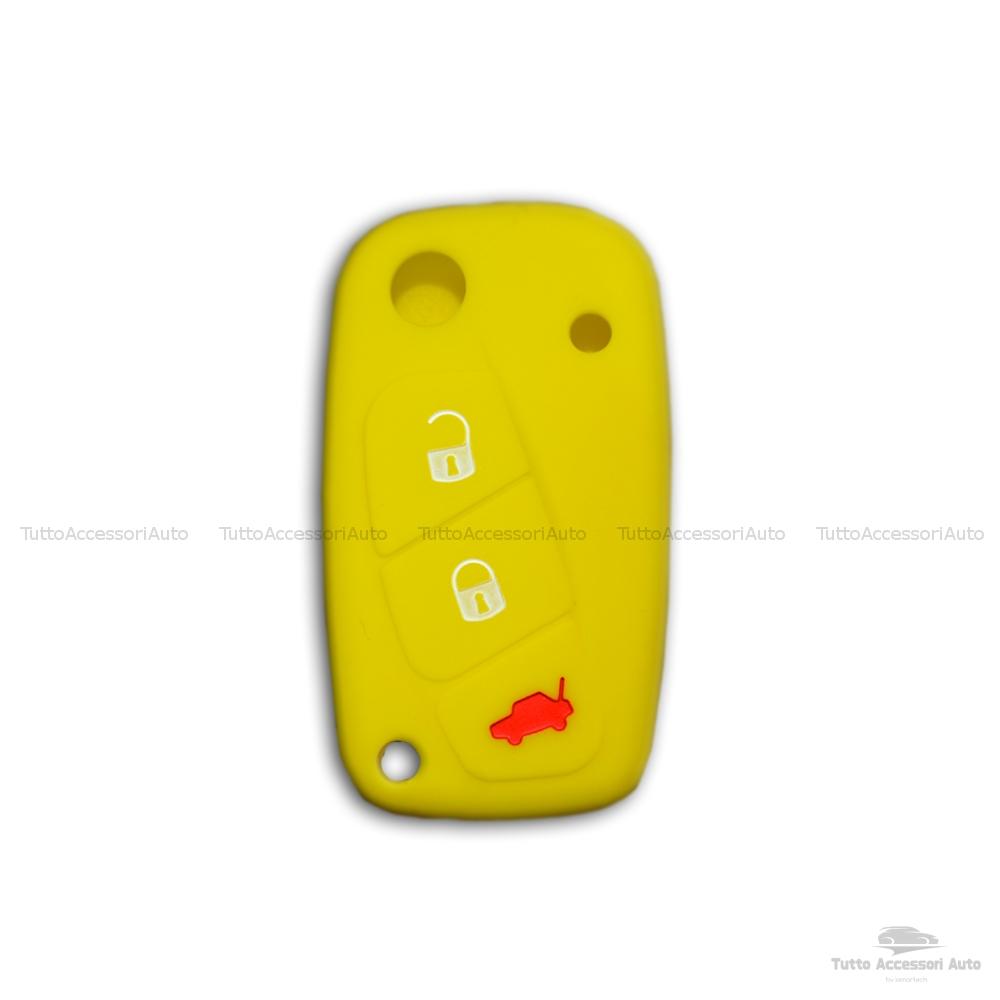 Cover Colorata Protezione In Silicone Morbido Per Scocca Guscio Chiave 3 Tasti Pieghevole Auto Fiat Grande Punto, Panda, Stilo, Bravo, Ducato, Ulysse (Giallo)