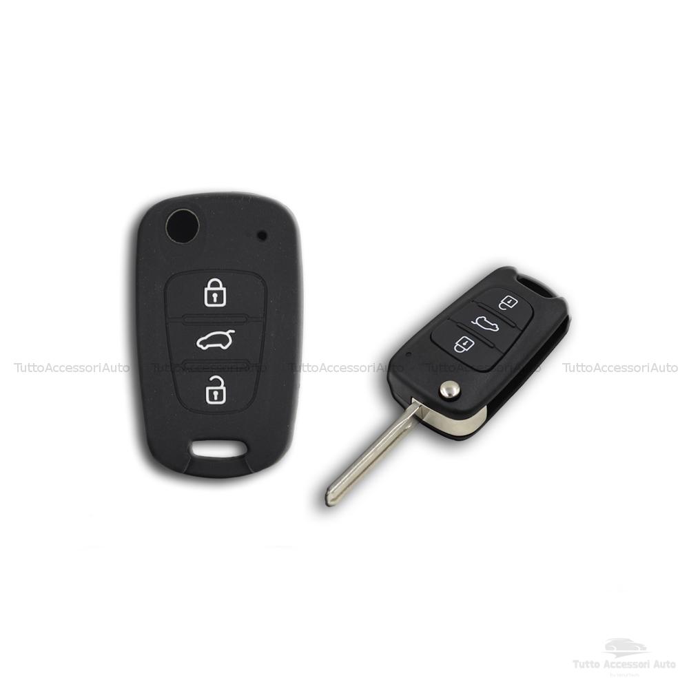 Guscio Cover In Silicone Per Protezione Scocca Telecomando Chiave 3 Tre Tasti Auto Hyundai I10 I20 I30 Ix20 Ix35 Elantra (Nero)