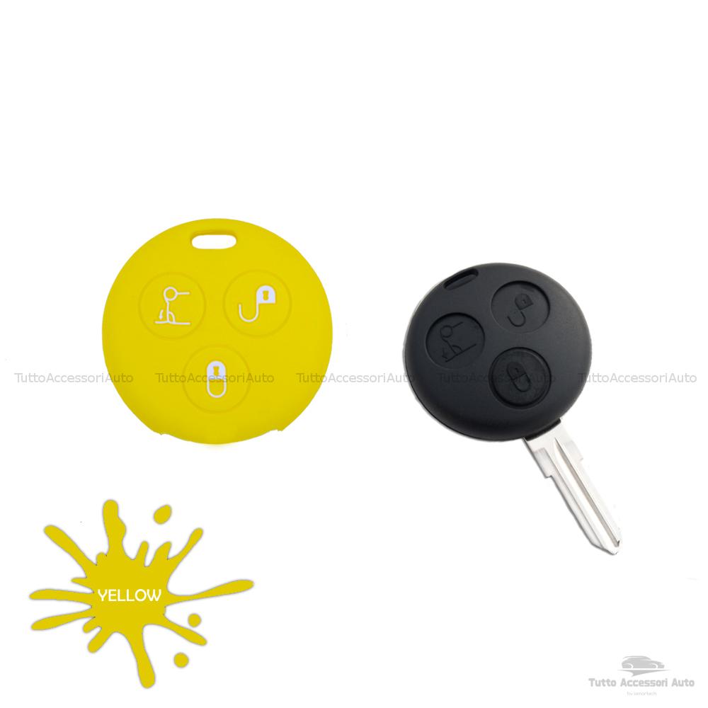 Cover Guscio Colorato Case Materiale Silicone Morbido Per Scocca Chiave Telecomando 3 Tasti Autovetture Smart 450 Fortwo Coupe' Vari Colori (Giallo)