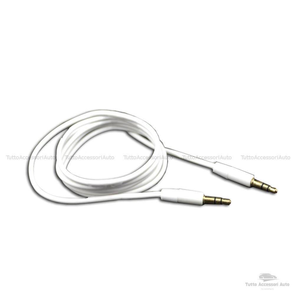 Cavo Audio Aux Doppio Jack Maschio 3,5Mm Rivestimento Gomma Connettori Dorati In Alluminio Per Connettere Smartphone Mp3 Tablet Pc Cuffie Audio Autoradio Tv (Bianco)