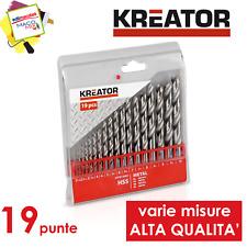 Kreator set 19 punte trapano 1-10mm per ferro HSS