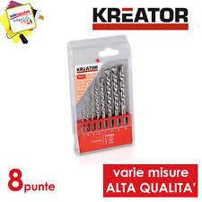 Kreator set 8 punte 3-10mm trapano per muro