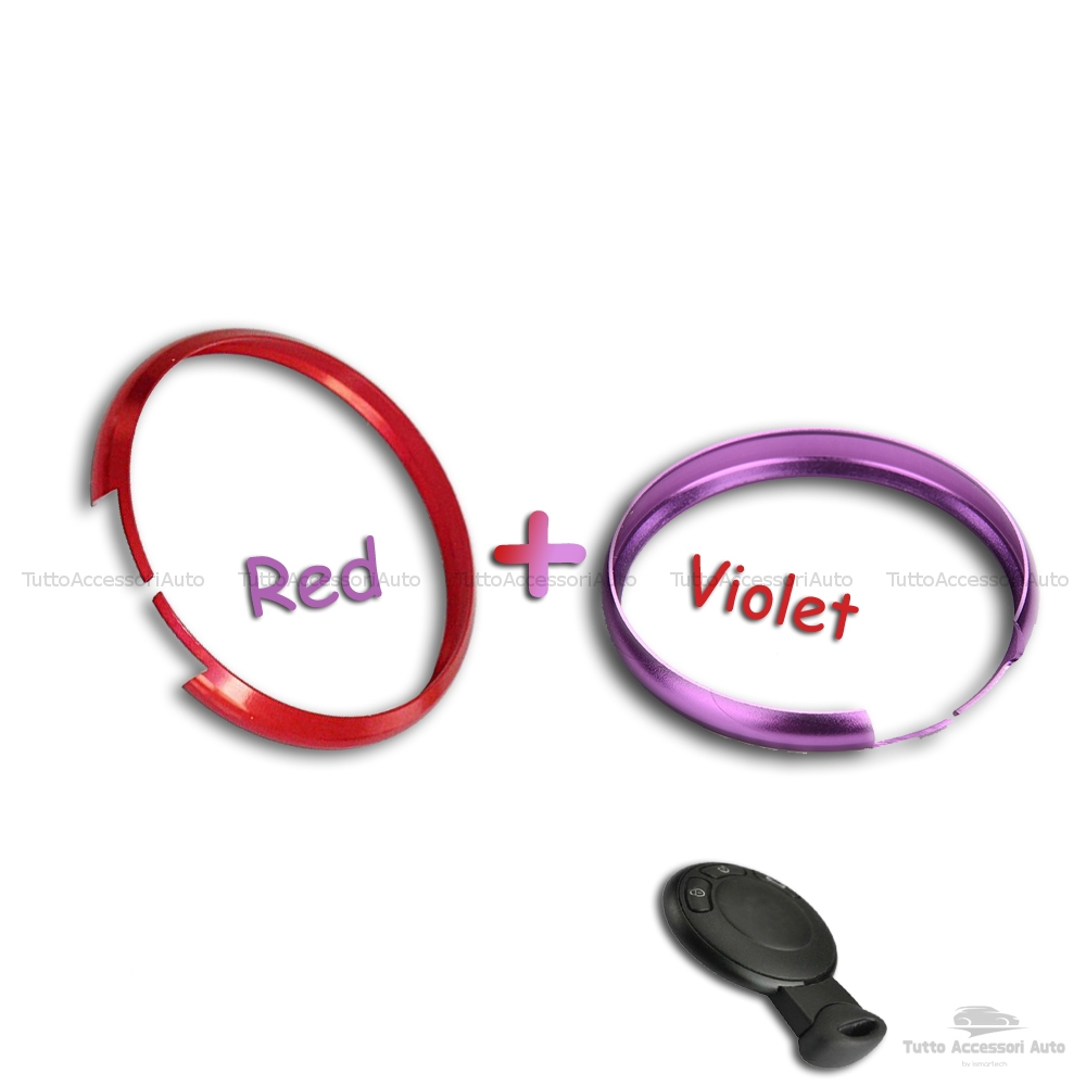 Anello Decorativo 2 Pezzi Cover Ring Per Auto Mini Cooper One D S Countryman In Alluminio Rosso E Viola Due Pezzi Cerchio Guscio Scocca Telecomando Chiave Portachiavi