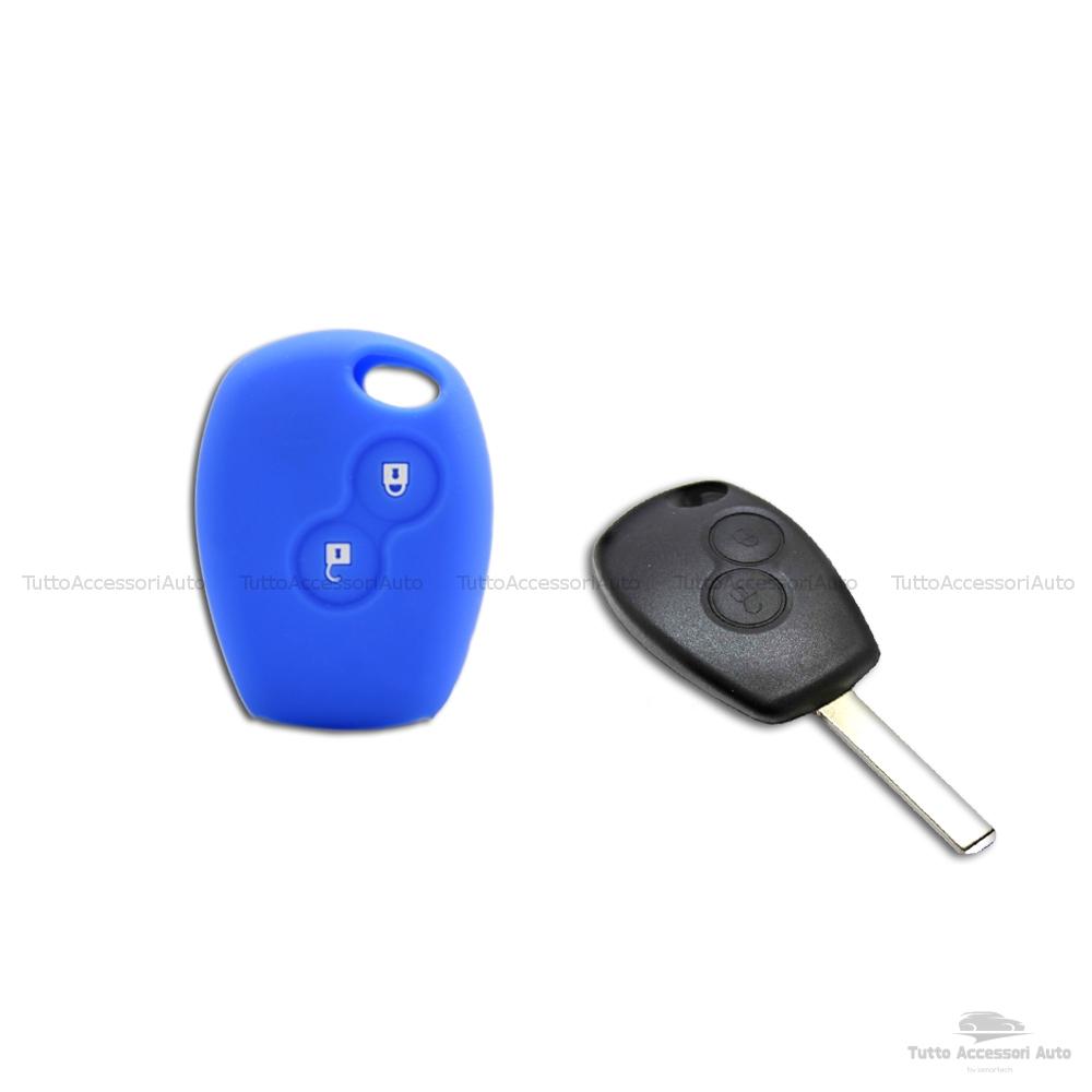 Cover Guscio Colorato Case Materiale Silicone Morbido Per Scocca Chiave Telecomando 2 Tasti Autovetture Renault Clio Twingo Modus Kangoo Vari Colori (Blu)