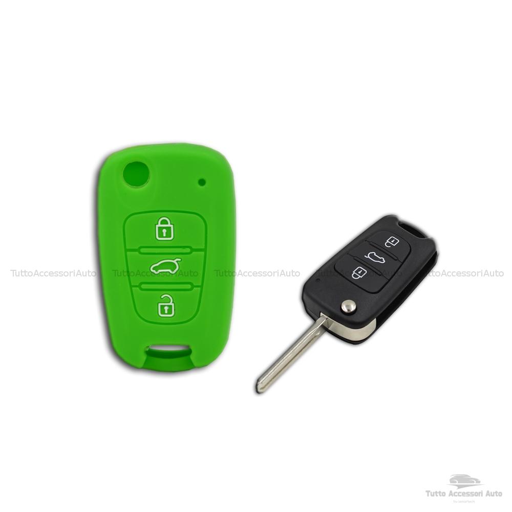 Guscio Cover In Silicone Colore Per Protezione Scocca Telecomando Chiave 3 Tre Tasti Auto Hyundai I10 I20 I30 Ix20 Ix35 Elantra Vari Colori (Verde)