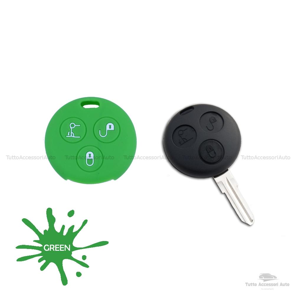 Cover Guscio Colorato Case Materiale Silicone Morbido Per Scocca Chiave Telecomando 3 Tasti Autovetture Smart 450 Fortwo Coupe' Vari Colori (Verde)