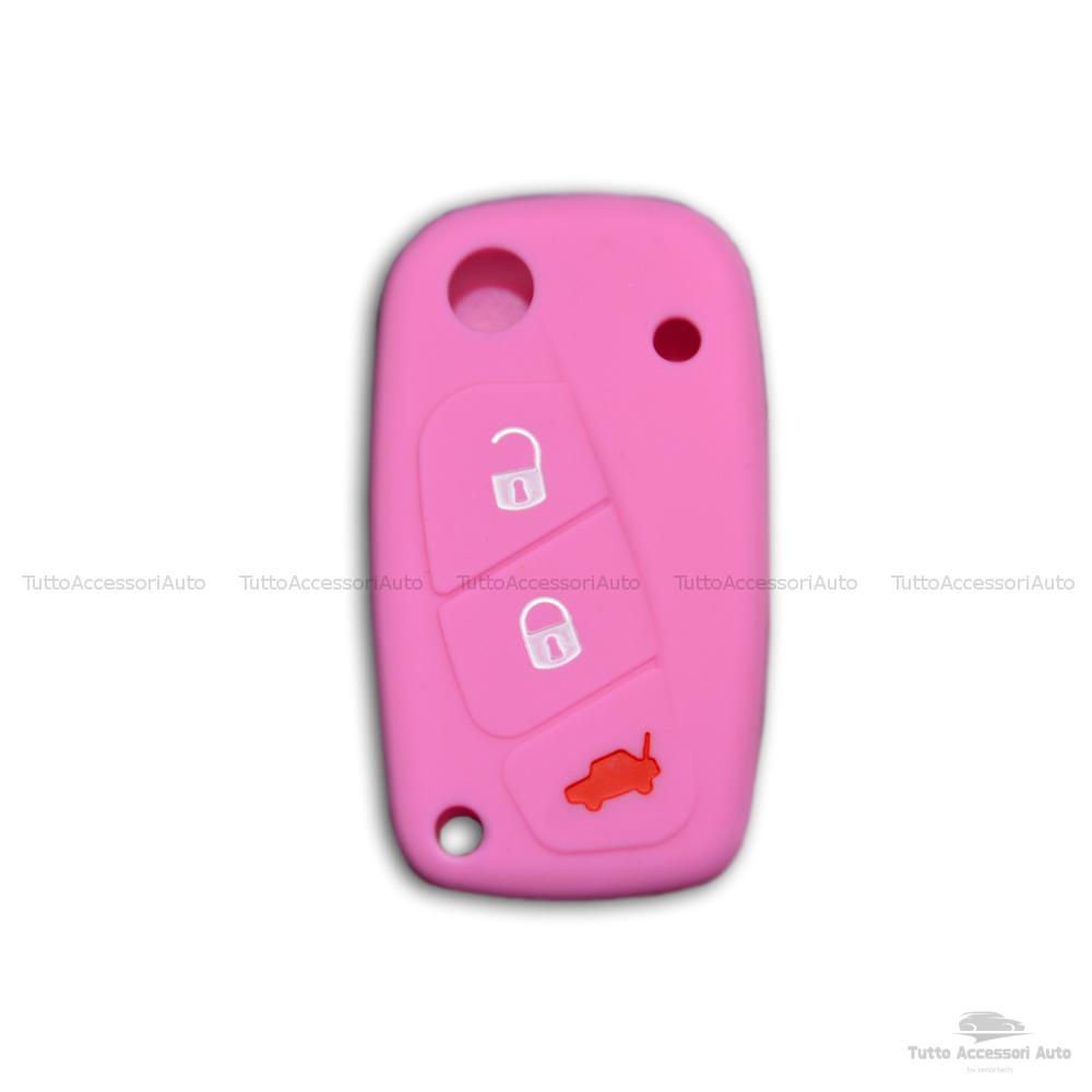 Cover Colorata Protezione In Silicone Morbido Per Scocca Guscio Chiave 3 Tasti Pieghevole Auto Fiat Grande Punto, Panda, Stilo, Bravo, Ducato, Ulysse (Rosa)