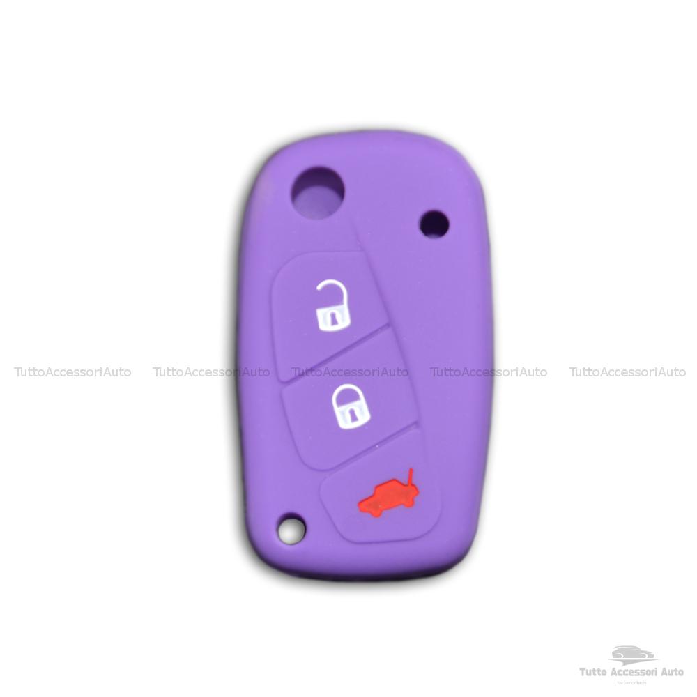 Cover Colorata Protezione In Silicone Morbido Per Scocca Guscio Chiave 3 Tasti Pieghevole Auto Fiat Grande Punto, Panda, Stilo, Bravo, Ducato, Ulysse (Viola)