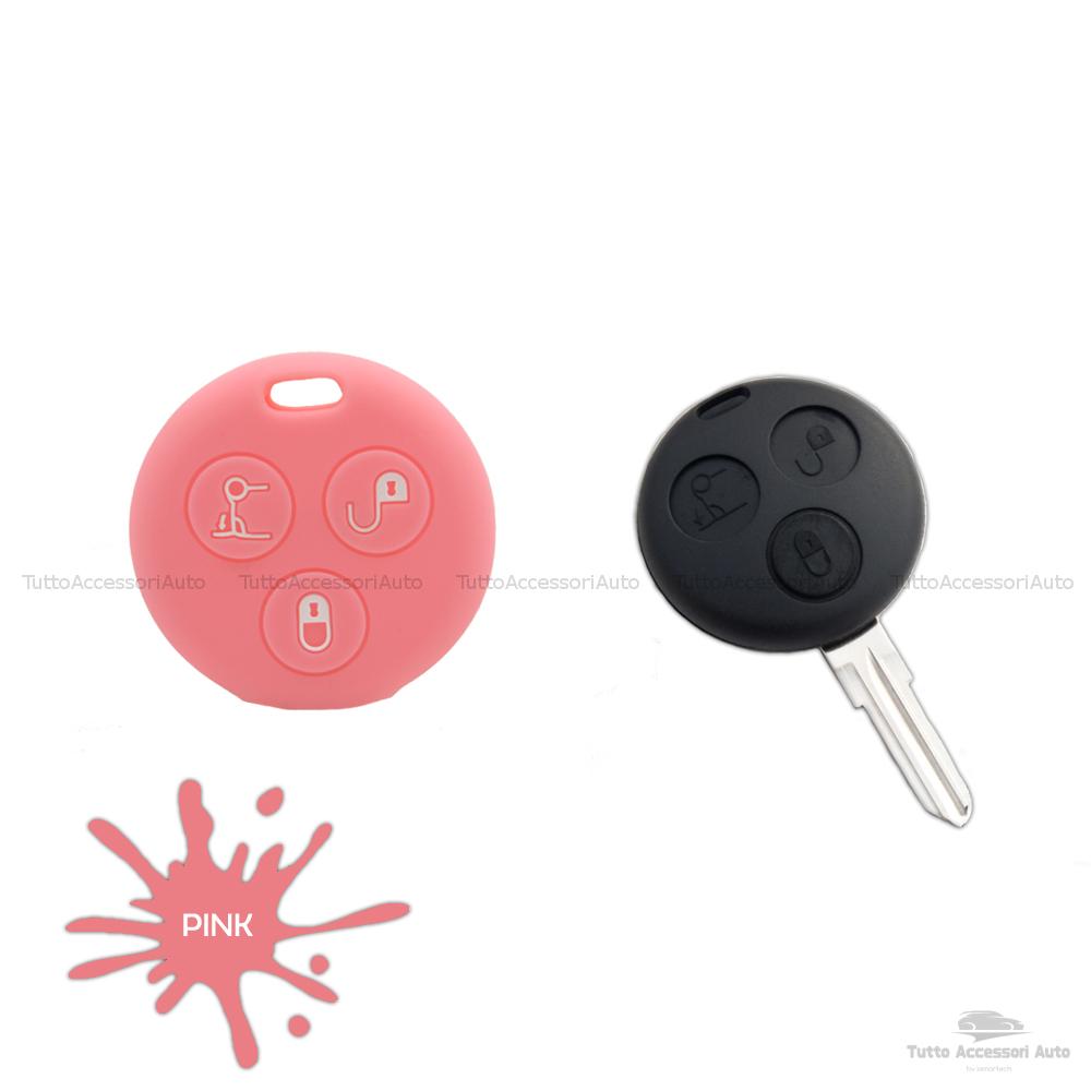 Cover Guscio Colorato Case Materiale Silicone Morbido Per Scocca Chiave Telecomando 3 Tasti Autovetture Smart 450 Fortwo Coupe' Vari Colori (Rosa)