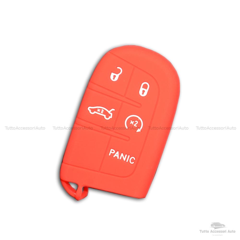 Cover Colorata Protettiva In Silicone Morbido Per Scocca Guscio Chiave 3 Tasti Pieghevole Auto Jeep Renegade Cherokee Copertura Del Telecomando Disponibile In Vari Colori (Rosso)