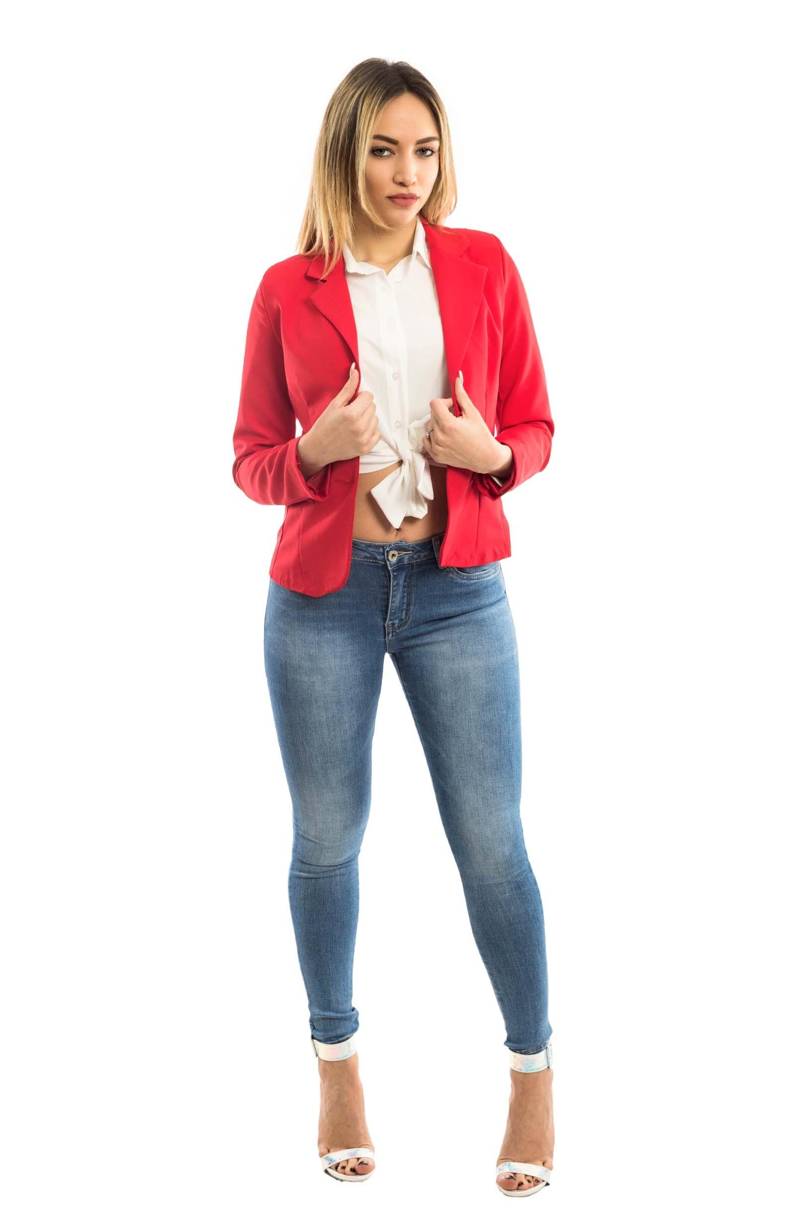Giacca slimfit corta - colore Rosso