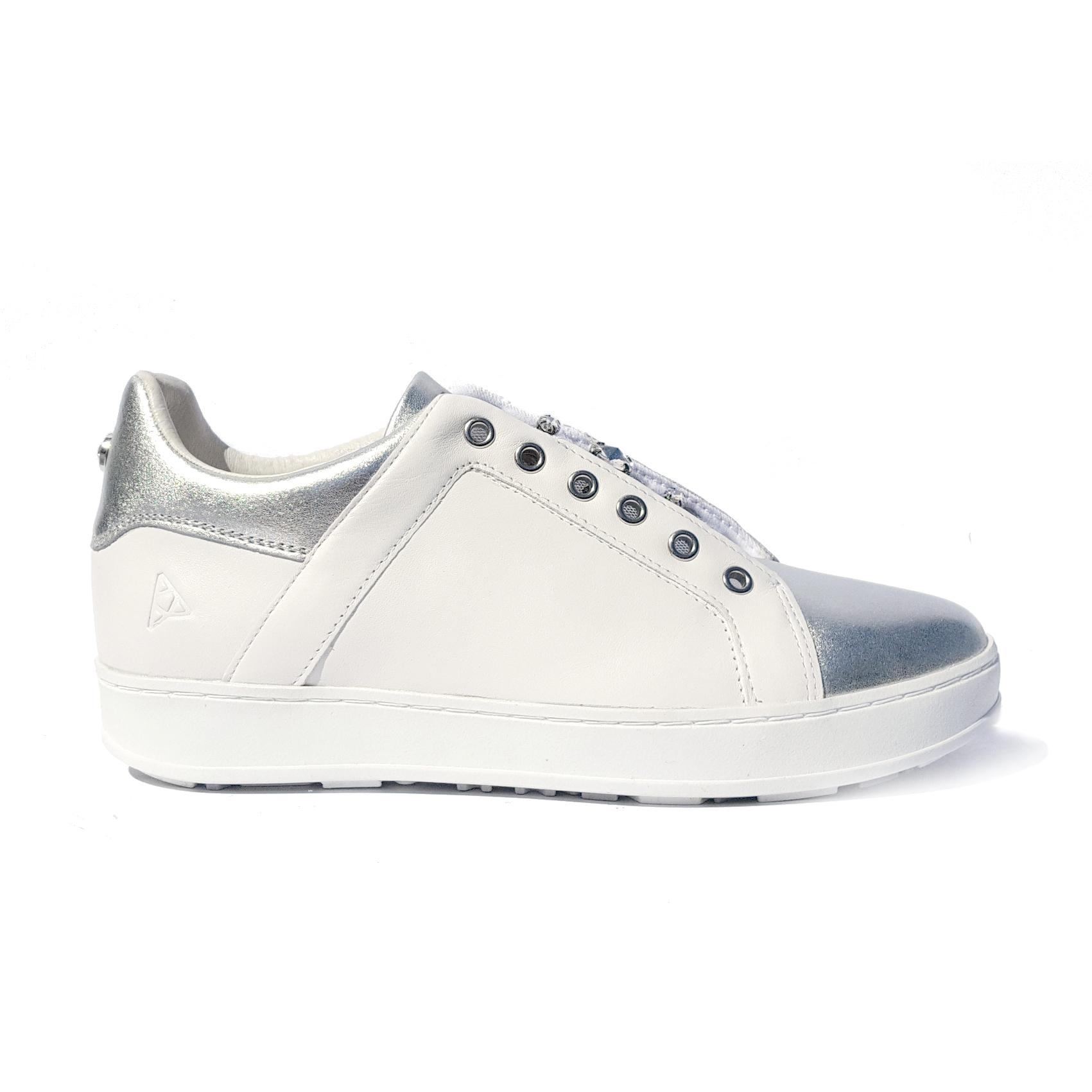 Sneaker bianca/argento con pietre Apepazza
