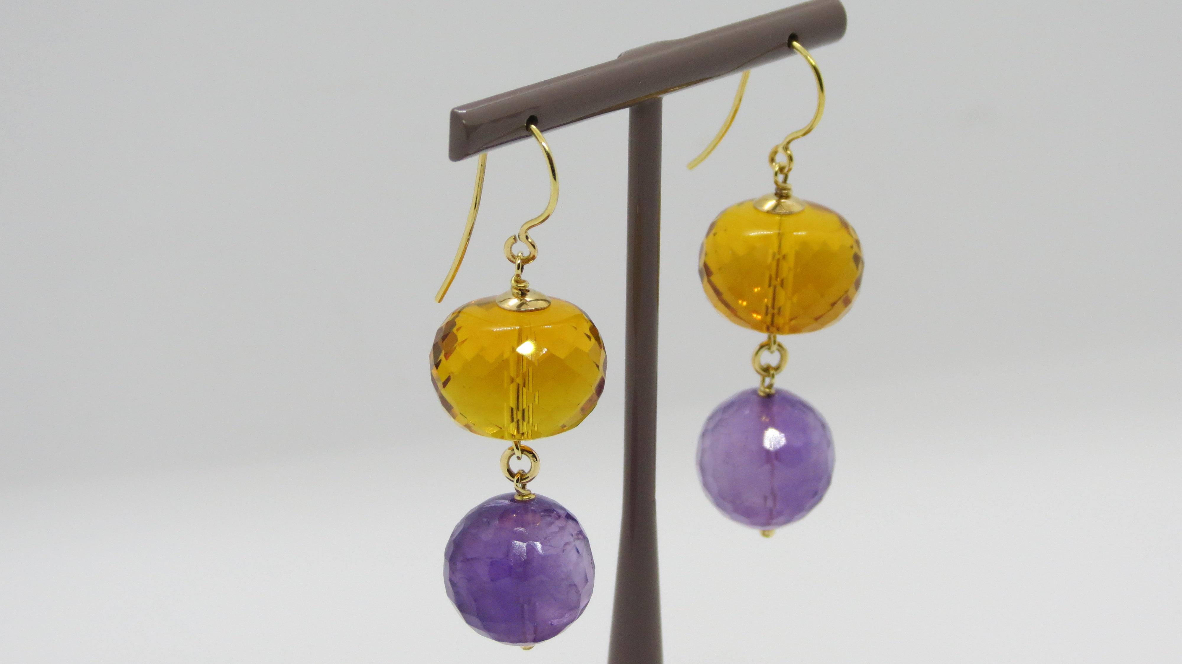 Orecchini pendenti in Oro giallo 18Kt con Ametista e Quarzo Citrino