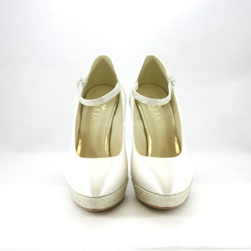 Décolleté donna elegante da cerimonia in tessuto di raso con inserti glitter e cinghietta regolabile alla caviglia Art. Amber