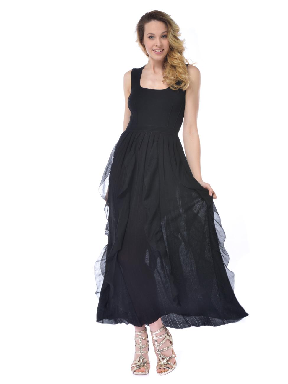 e153b597ba66 Abito lungo donna Nenette stretch con rouches nero
