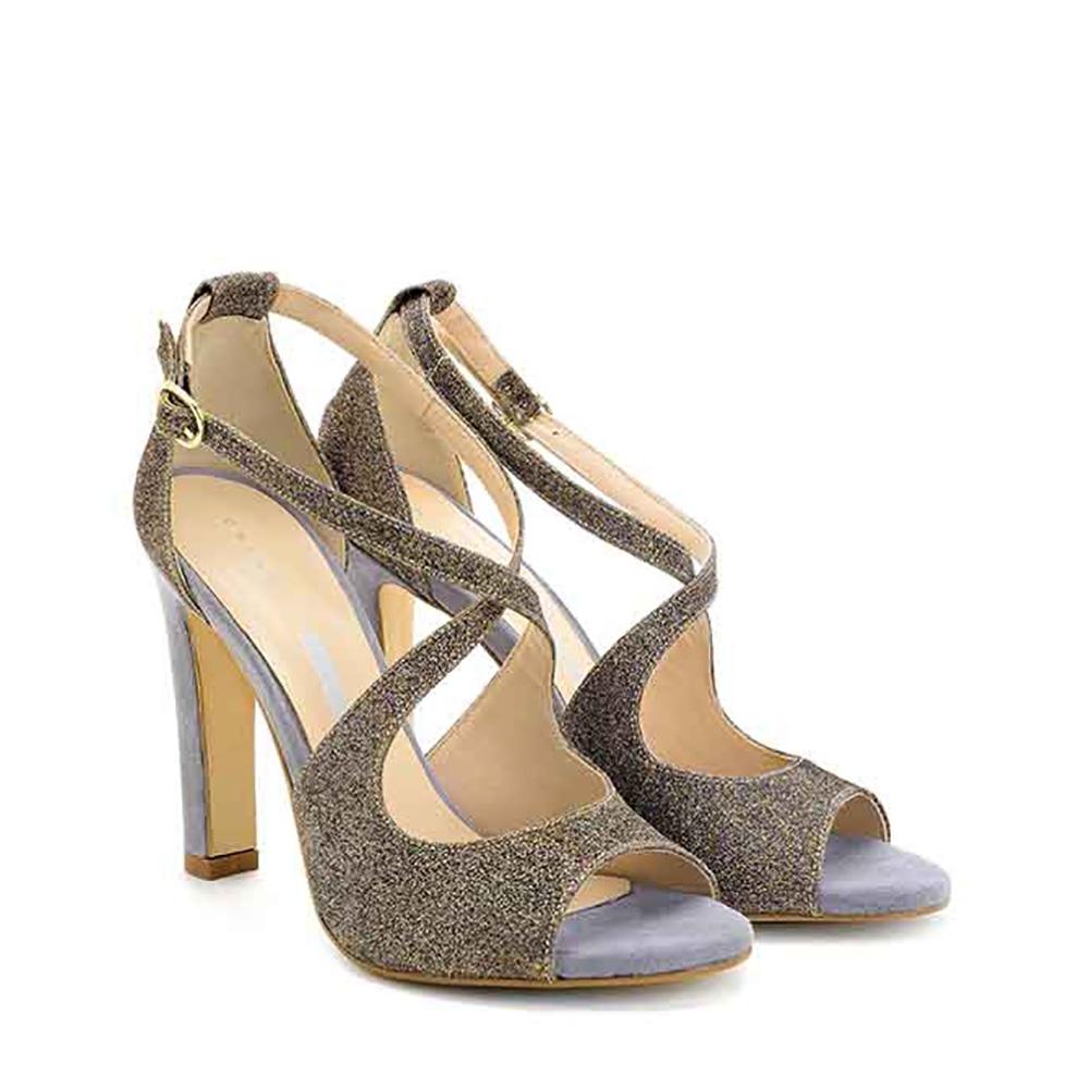 Sandali con tacco in camoscio e glitter multicolore - CHIARINI BOLOGNA