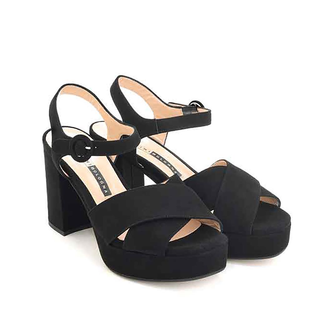 Sandali in camoscio con tacco colore nero - CHIARINI BOLOGNA