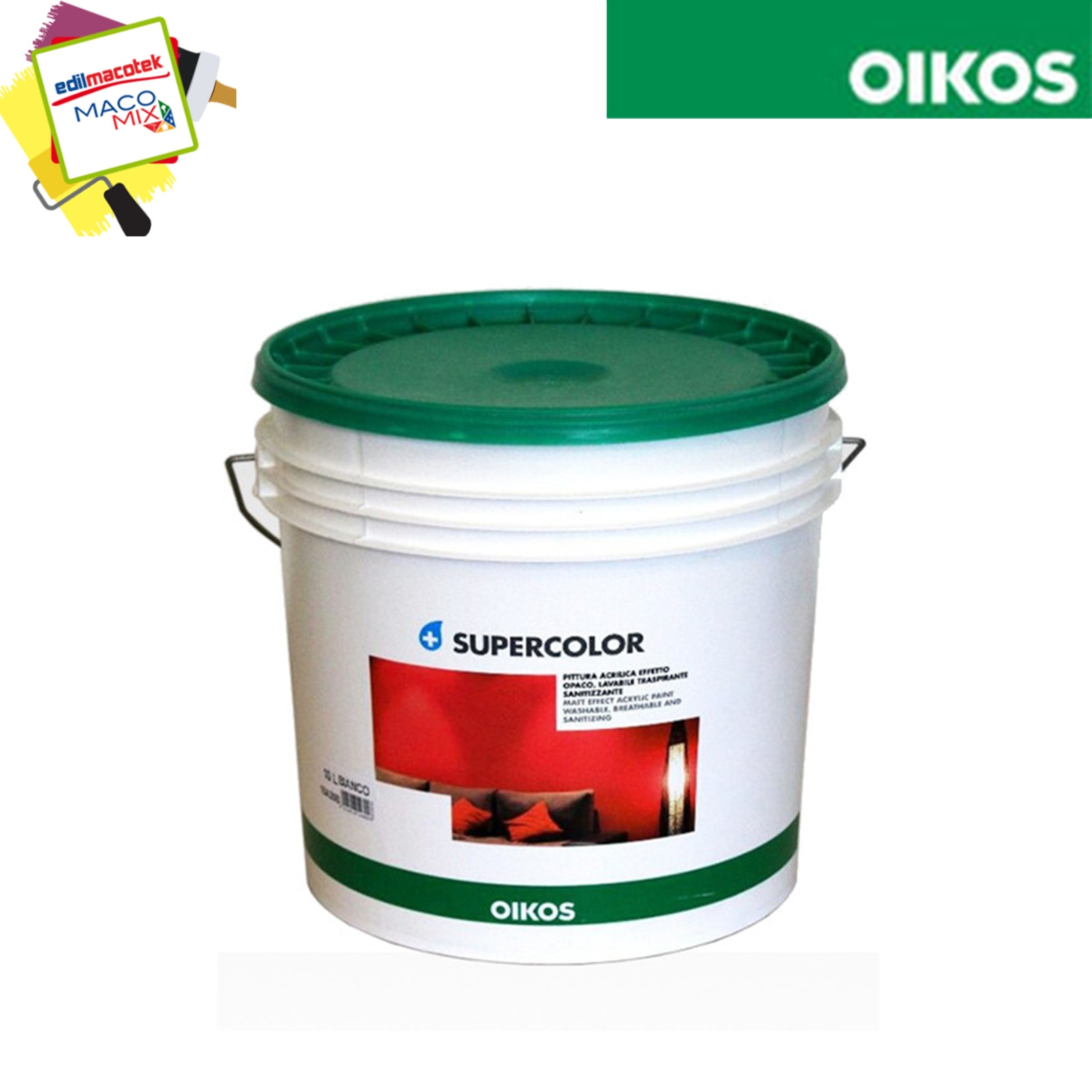 Oikos Supercolor pittura acrilica lavabile traspirante effetto liscio/opaco 14lt bianca