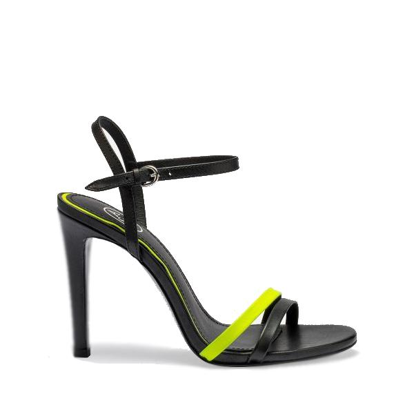 Sandali col tacco modello Hello Bis colore nero e giallo fluorescente - ASH