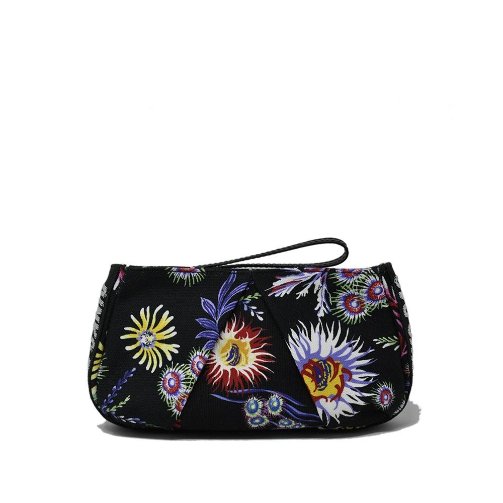Pochette in canvas colore nero con decorazione floreale - PINKO