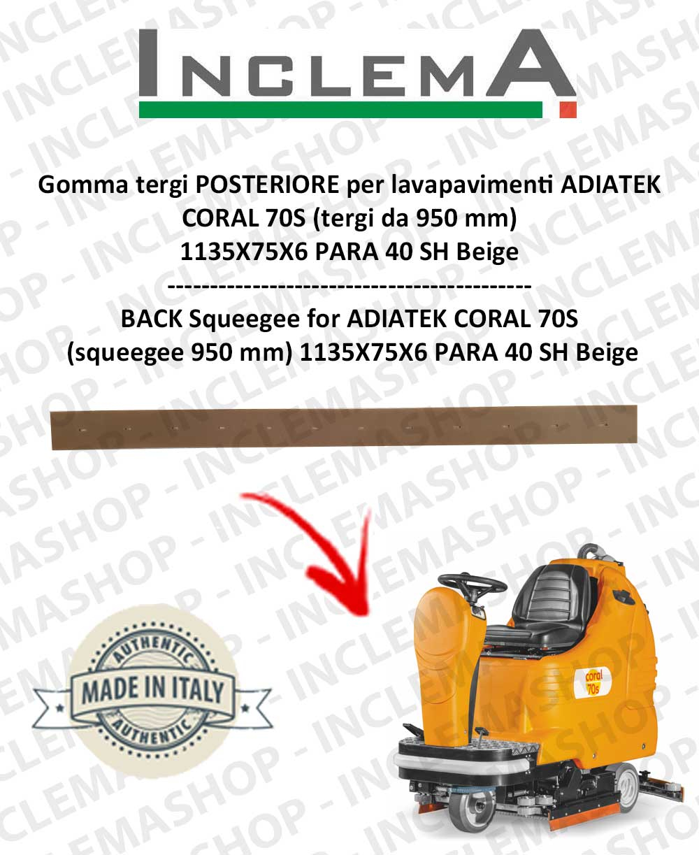 Gomma tergi POSTERIORE per lavapavimenti CORAL 70S ADIATEK (tergi da 950 mm)