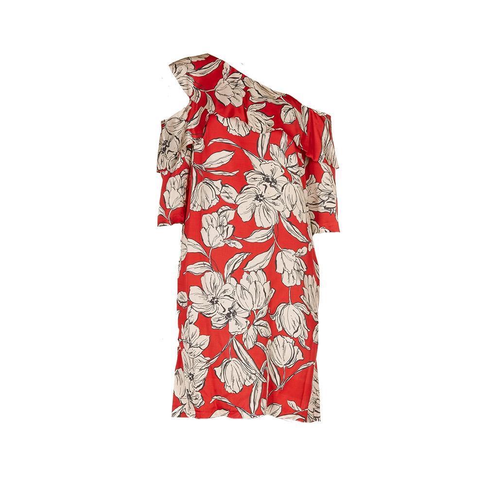 Abito spalla asimmetrica rosso fantasia floreale - KAOS