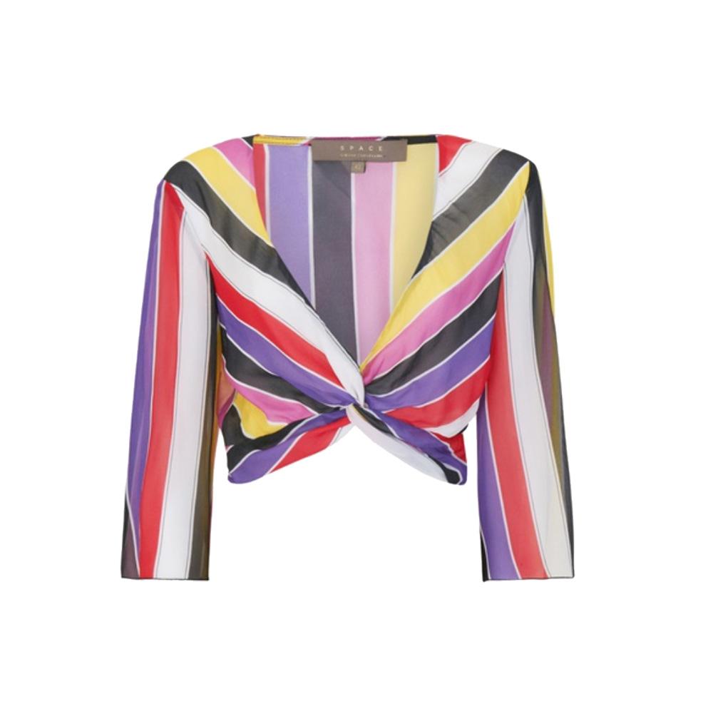Blusa cropped a righe multicolor - SPACE SIMONA CORSELLINI