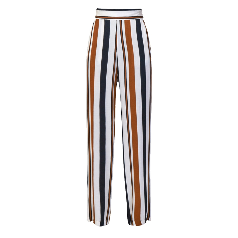 c3a8c338d7ef Pantalone a righe nei colori cuoio biano e nero - SPACE SIMONA CORSELLINI