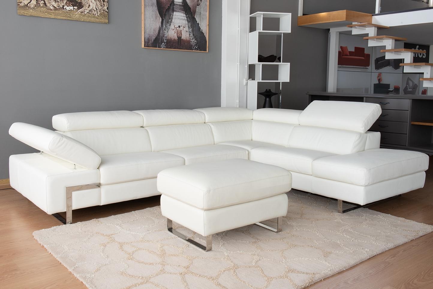 Offerta Divano angolare bianco 5 posti con poggiatesta recliner