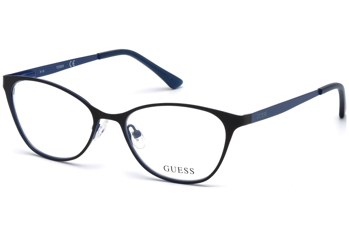 Guess - Occhiale da Vista Donna, Eye Candy, Matte Black/Blu GU 3010 002 C51
