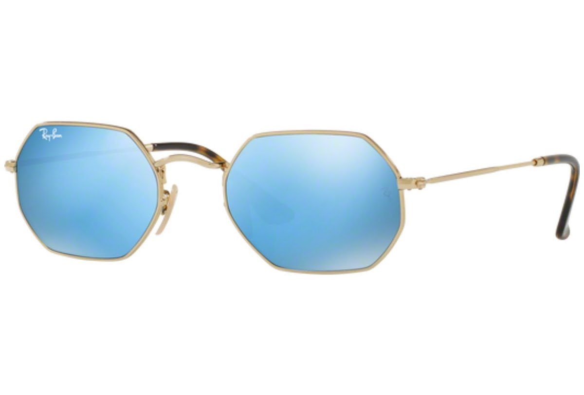 Ray Ban - Occhiale da Sole Unisex, Octagonal, Gold/Shiny Blue Shaded RB3556N 001/9O C53