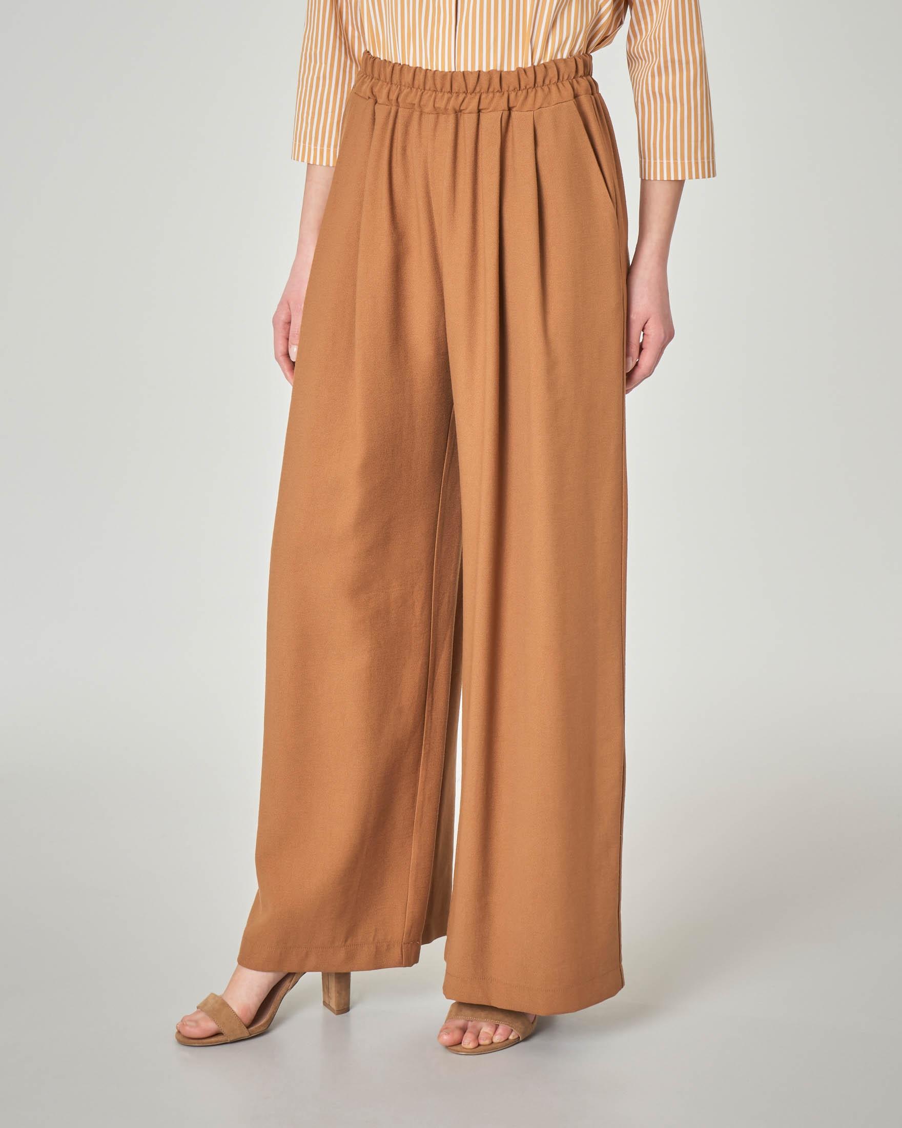 taglia 40 93c53 5dec0 Pantaloni palazzo color coccio in misto viscosa con elastico in vita