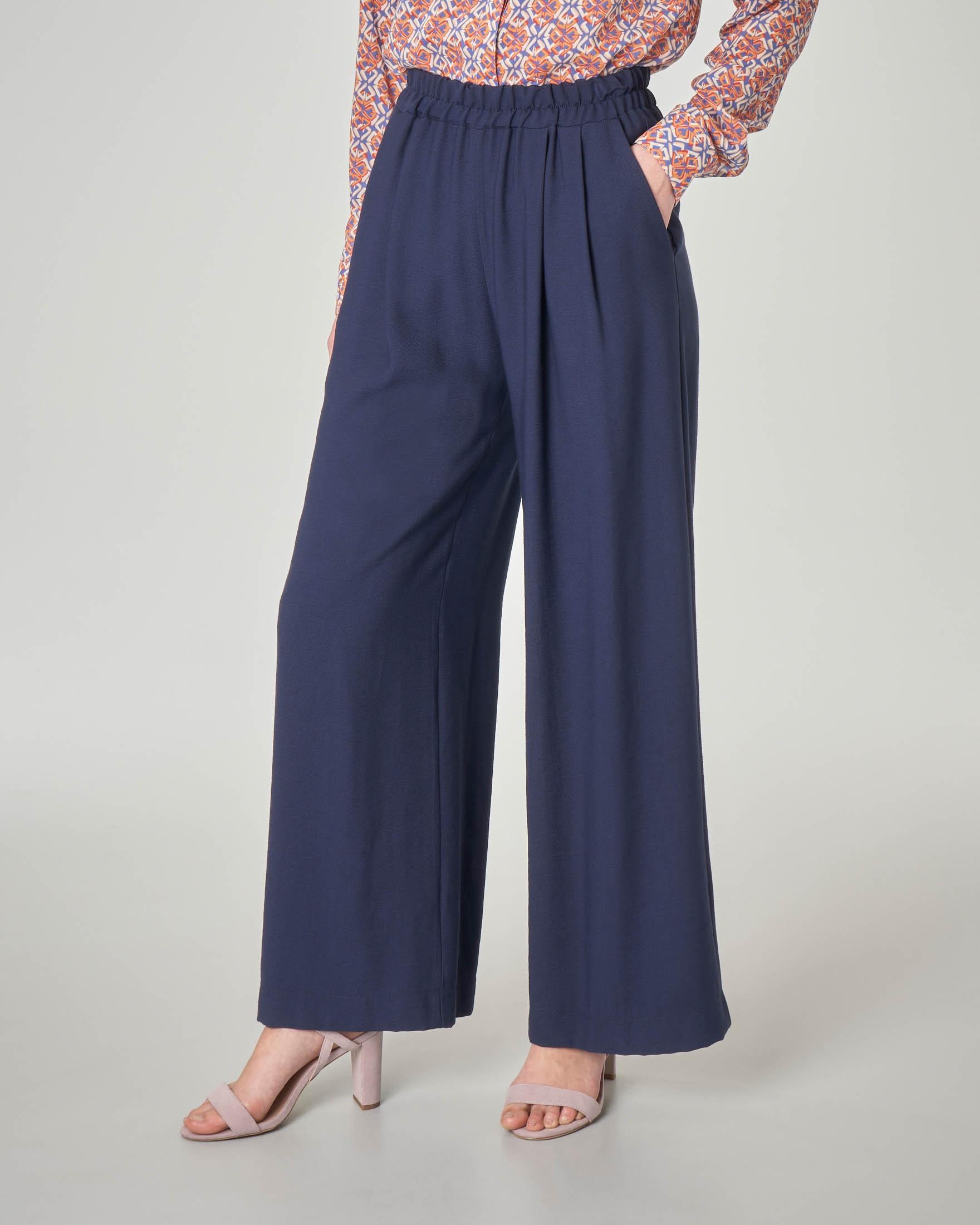 6dd9c418cd Pantaloni palazzo blu in misto viscosa con elastico in vita