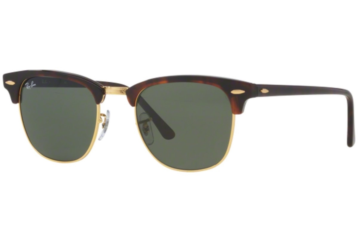 Ray Ban - Occhiale da Sole Unisex, Clubmaster, Red Havana/Gradient Green RB3016 W0366 C51