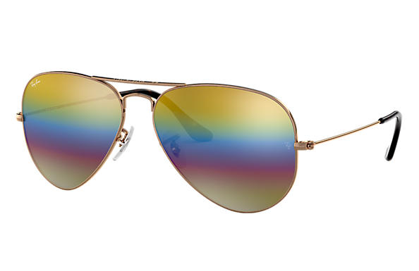 Ray Ban - Occhiale da Sole Unisex, Aviator Mineral Flash Lenses, Gold Rainbow Flash RB3025 9020C4 C58