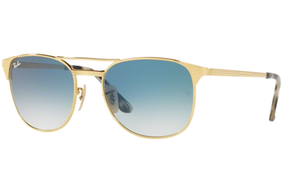 Ray Ban - Occhiale da Sole Uomo, Signet, Gold/Mirror Shiny Blue RB3429M 001/3F C55