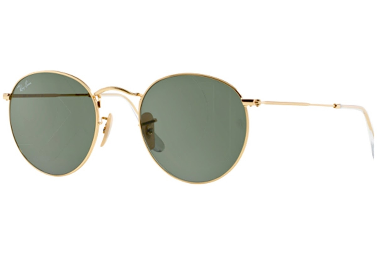 Ray Ban - Occhiale da Sole Unisex, Round Metal G-15, Gold/Mirror Green RB3447 001 C50