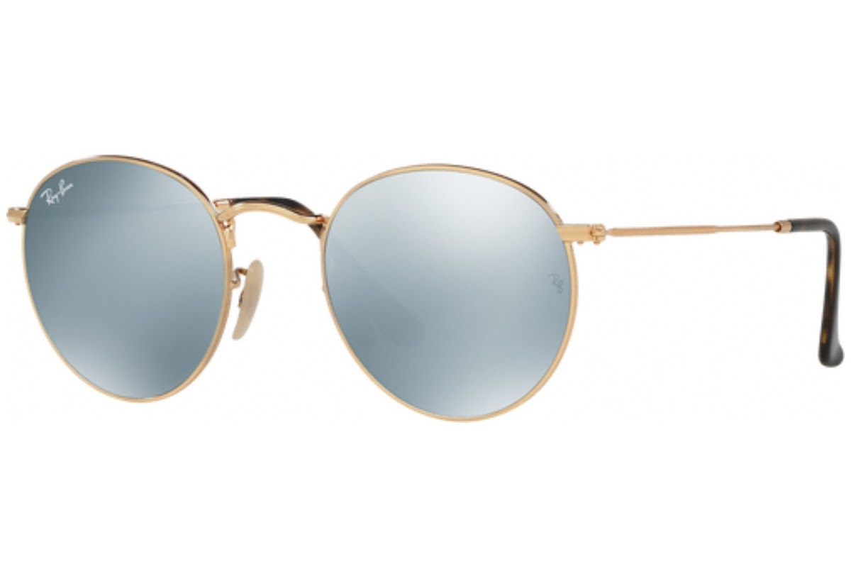 Ray Ban - Occhiale da Sole Uomo, Round Flat Lenses, Gold/Mirror Silver Flash RB3447N 001/30 C50
