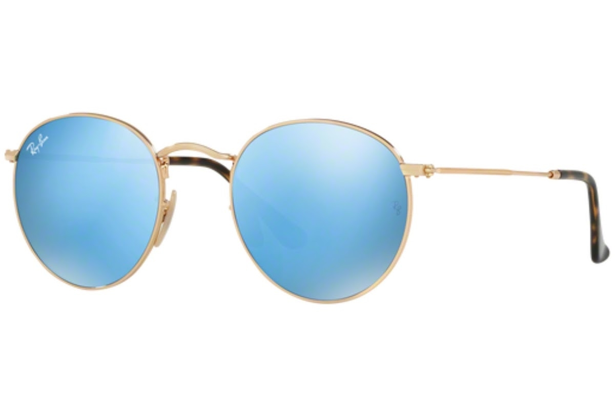 Ray Ban - Occhiale da Sole Uomo, Round Flat Lenses, Gold/Mirror Blue Gradient Flash RB3447N 001/9O C50