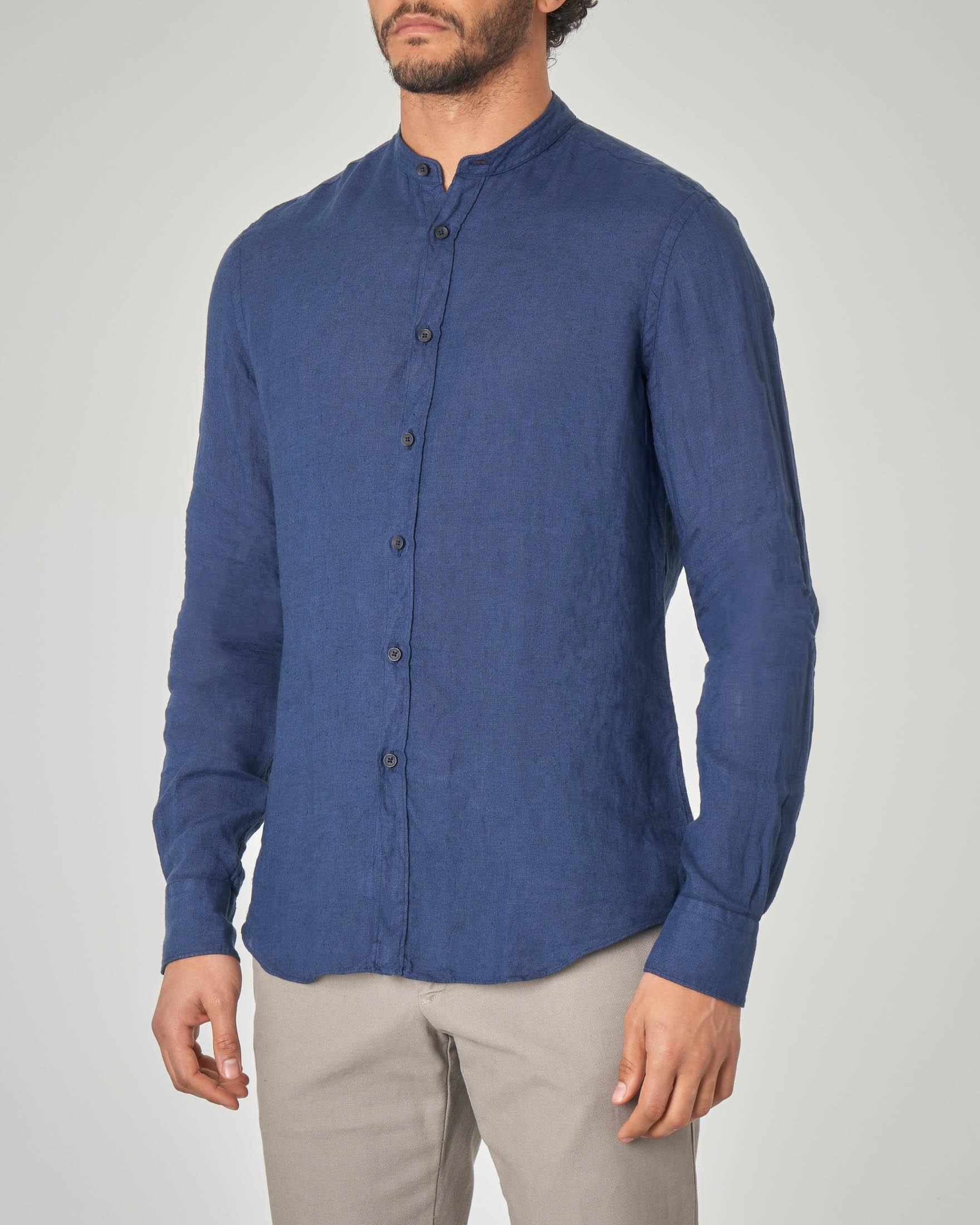 comprare on line 85b23 15b06 Camicia blu coreana in lino