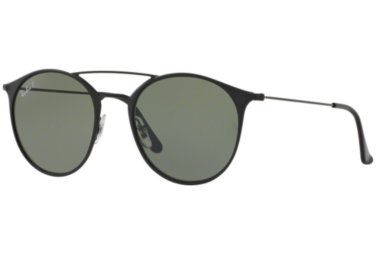 Ray Ban - Occhiale da Sole Unisex, Polarized Classic, Black/Mirror Green RB3546 186/9A C49