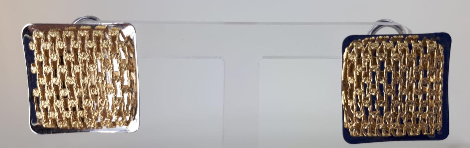 ORECCHINI A LOBO BICOLORE ORO GIALLO E BIANCO 7.10 GR QUADRATI A CLIPS