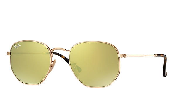 Ray Ban - Occhiale da Sole Unisex, Hexagonal Flat Lenses Flash, Gold/Mirror Yellow RB3548N 001/93 C54