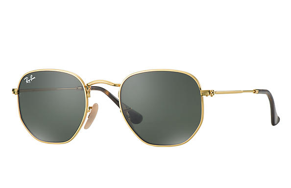 Ray Ban - Occhiale da Sole Unisex, Hexagonal Flat Lenses G-15 Flash, Gold/Mirror Green RB3548N 001 C51