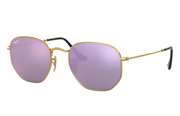 Ray Ban - Occhiale da Sole Unisex, Hexagonal Flat Lenses, Gold/Shaded Violet RB3548N 001/8O C54